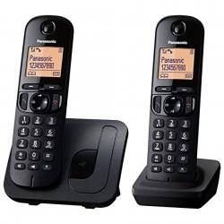 Panasonic Teléfono Inalámbrico KX-TGC212, 2 Auriculares, Negro