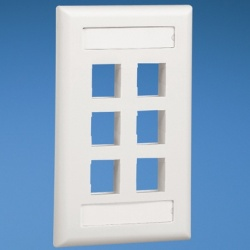 Panduit Placa de Pared Vertical NK6FIWY, 6 puertos Netkey, Blanco Mate