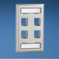 Panduit Placa de Pared Vertical NKF4S, 4 Puertos Netkey, Acero