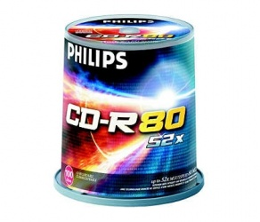 Philips Torre de Discos Virgenes, CD-R, 52x, 700MB, 100 Piezas