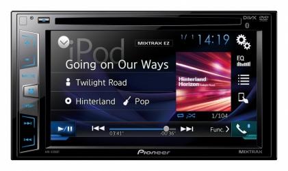 Pioneer Autoestereo AVH-X395BT, Pantalla 6.2'', Bluetooth, USB 2.0, Negro