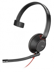 Poly Monoaural Blackwire 5210, Alámbrico, USB-C, Negro/Rojo