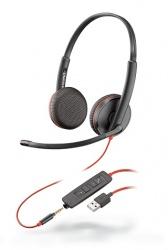Poly Audífonos con Micrófono Binaural Blackwire 3225, Alámbrico, USB/3.5mm, Negro
