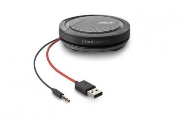Poly Altavoz Calisto 5200, Alámbrico, 3.5mm, USB A, Negro/Rojo