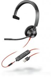 Poly Audífonos con Micrófono Blackwire 3315 Microsoft, Alámbrico, USB-A, Negro/Rojo