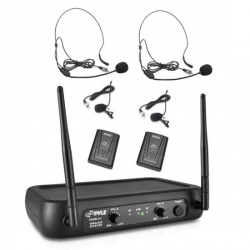 Pyle Sistema de Micrófonos, Inalámbrico, Negro