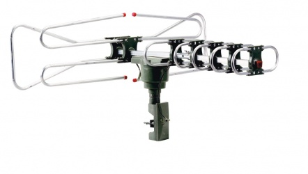 QFX Antena Remota Giratoria 360°, 30dBi, HD/DTV/UHF/VHF/FM