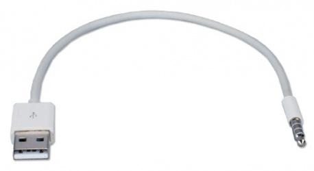 QVS Cable de Carga USB A Macho - 3.5mm Macho, 30cm, Blanco, para iPod Shuffle