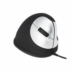Mouse Ergonomico R-Go Tools Óptico R-Go HE, Alámbrico, USB, Negro/Plata