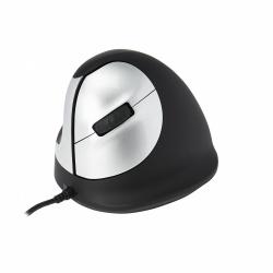 Mouse Zurdo R-Go Tools Óptico R-Go HE, Alámbrico, USB, 3400DPI, Negro/Plata