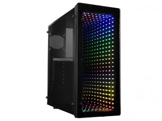 Gabinete Raidmax GALAXY con Ventana LED RGB, Midi-Tower, ATX/Micro ATX/Mini-ITX, USB 2.0/3.2, sin Fuente, Negro