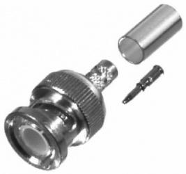 RF Industries Conector Coaxial de Anillo Plegable BNC Macho, Plata