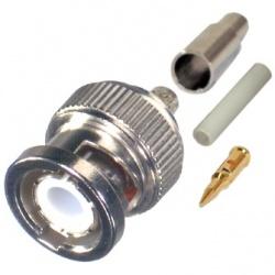 RF Industries Conector BNC Macho, Anillo Plegable, para Cables RG-174/U/8216, Niquel/ Oro/ Teflón