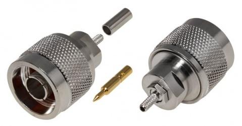RF Industries Conector Coaxiales de Anillo Plegable N Macho, Plata