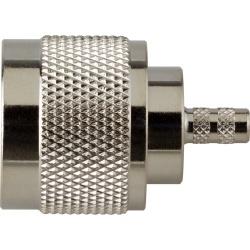 RF Industries Conector Caoxial N Macho, Anillo Plegable, para RG-142/U, Niquel/ Oro/ Teflón