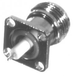 RF Industries Conector Coaxial N Hembra, Montaje de Panel con 4 Perforaciones, Plata