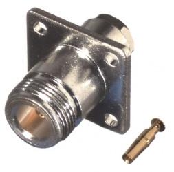 RF Industries Conector Coaxial N Hembra, Montaje con 4 Perforaciones, 18mm, Plata