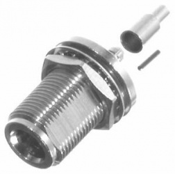 RF Industries Conector Coaxial N Hembra, Montaje Frontal para Panel, Plata