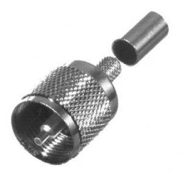 RF Industries Conector Coaxial de Anillo Plegable UHF Macho, Plata