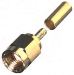 RF Industries Conector Coaxial de Anillo Plegable SMA Macho, Oro