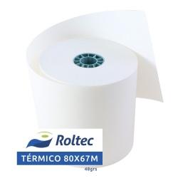 Roltec Rollo de Papel Térmico, 80mm x 67m, 75 Rollos