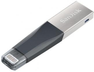 Memoria USB SanDisk IXpand Mini, 64GB, USB 3.0, Gris/Plata