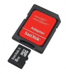 Memoria Flash SanDisk, 8GB mircoSDHC Clase 4, con Adaptador