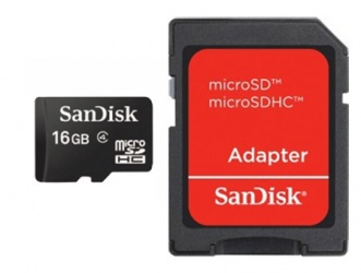 Memoria Flash SanDisk, 16GB microSDHC Clase 4, con Adaptador