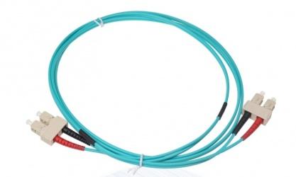 SBE Tech Cable Fibra Óptica OM4 Dúplex SC Macho - SC Macho, 10 Metros, Aqua