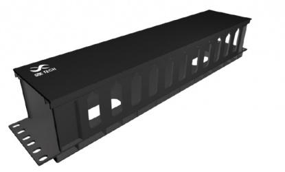 SBE Tech Organizador de Cables Horizontal 19'', 2UR, Negro