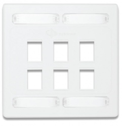 Simon Placa de Pared Doble MAX de 6 Puertos, Blanco