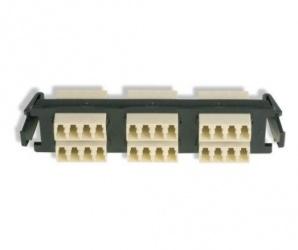 Siemon Panel de 6 Adaptadores de Fibra Óptica LC Quad Multimodo, Beige/Negro