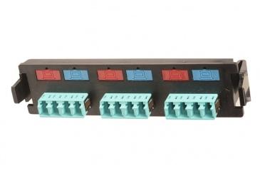 Siemon Panel de 6 Adaptadores de Fibra Óptica LC Duplex Multimodo, Aqua