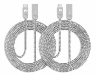SIIG Cable USB A Macho - USB C Macho, 2 Metros, Plata, 2 Piezas
