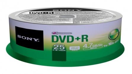 Sony Torre de Discos Virgenes para DVD, DVD+R, 16x, 25 Discos (25DPR47SP)