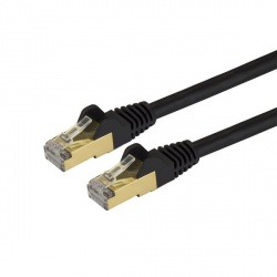 StarTech.com Cable Patch Cat6a STP Blindado sin Enganches RJ-45 Macho - RJ-45 Macho, 20cm, Negro