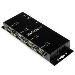 StarTech.com Hub Concentrador Adaptador USB a Serial RS232 DB9, 4 Puertos, Negro