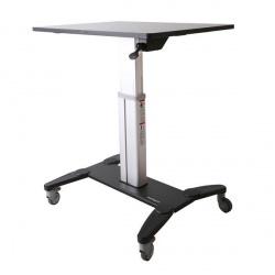 StarTech.com Estación de Trabajo Móvil de Pie y Sentado para Monitor, max. 50Kg, Negro/Plata