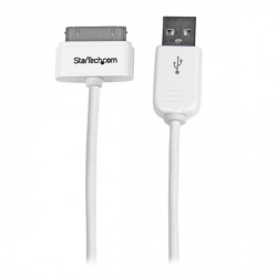StarTech.com Cable Cargador Conector Dock 30-pin - USB A 2.0, 1 Metro, Blanco, para iPhone/iPod/iPad