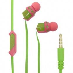 Steren Audífonos Intrauriculares con Micrófono AUD-067, Alámbrico, 1.20 Metros, 3.5mm, Verde/Rosa