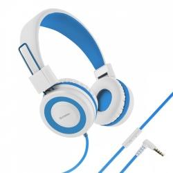Steren Audífonos con Micrófono AUD-222, Alámbrico, 3.5mm, Blanco/Azul