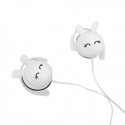 Steren Audífonos con Micrófono Bunny, Alámbrico, 1.20 Metros, 3.5mm, Blanco