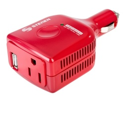 Steren Cargador para Auto INV-075, 110V, 1 Puerto USB, 1 Salida AC, Rojo