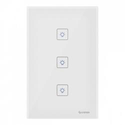 Steren Interruptor de Luz Inteligente Touch SHOME-113, 3 Botones, WiFi, Blanco