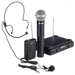 Steren Micrófono con Receptor WR-057, Inalámbrico, Negro - incluye 2 Micrófonos