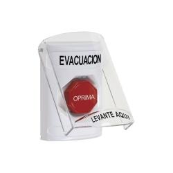 STI Botón de Evacuación con Tapa SS-2322-EV-ES, Alámbrico, Rojo/Blanco