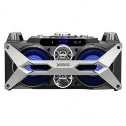 T-Fal XROCK Mini Componente, Bluetooth, 2000W PMPO, USB, Negro/Plata