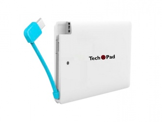 Cargador Portátil TechPad Power Bank PB1, 2500mAh, Blanco