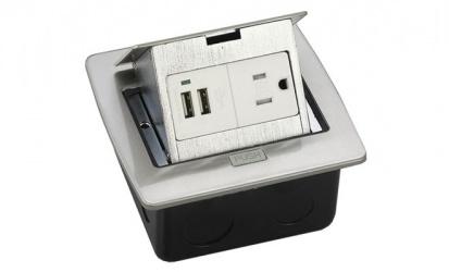 Thorsman Caja de Conexiones 11000-21203, 2 Puertos USB, Plata