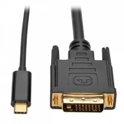 Tripp Lite Cable USB C Macho - DVI-D Macho, 1.8 Metros, Compatible con Thunderbolt 3, Negro